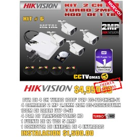 KIT  HIKVISION 4 CH 2MP