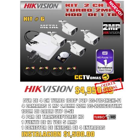 KIT  HIKVISION 4 CH 2MP
