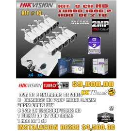 KIT HIKVISION DE 8 CH 2MP+UTP