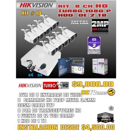 KIT HIKVISION DE 8 CH 2MP+UTP