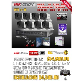 KIT HIKVISION DE 8 CH 3MP+UTP