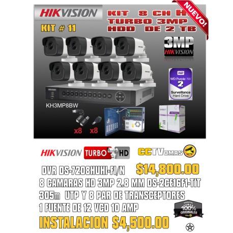 KIT HIKVISION DE 8 CH 3MP+UTP