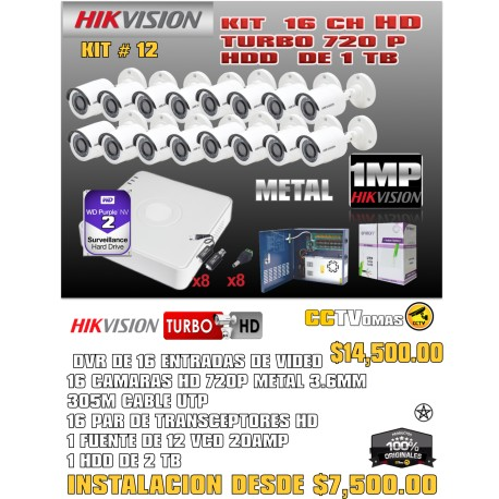 KIT HIKVISION DE 16 CH 1MP+UTP