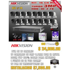 KIT HIKVISION DE 16 CH 3MP+UTP