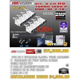 KIT HIKVISION DE 8 CH  2MP H.265+