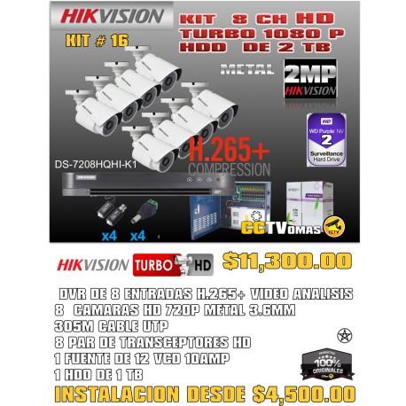 KIT HIKVISION DE 8 CH  2MP H.265+