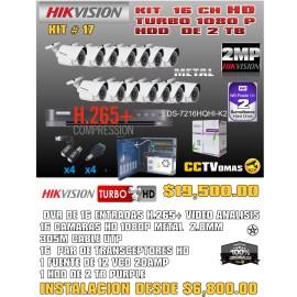 KIT HIKVISION DE 16 CH 2 MP H.265H